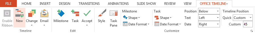 Timeline creator ribbon in PowerPoint