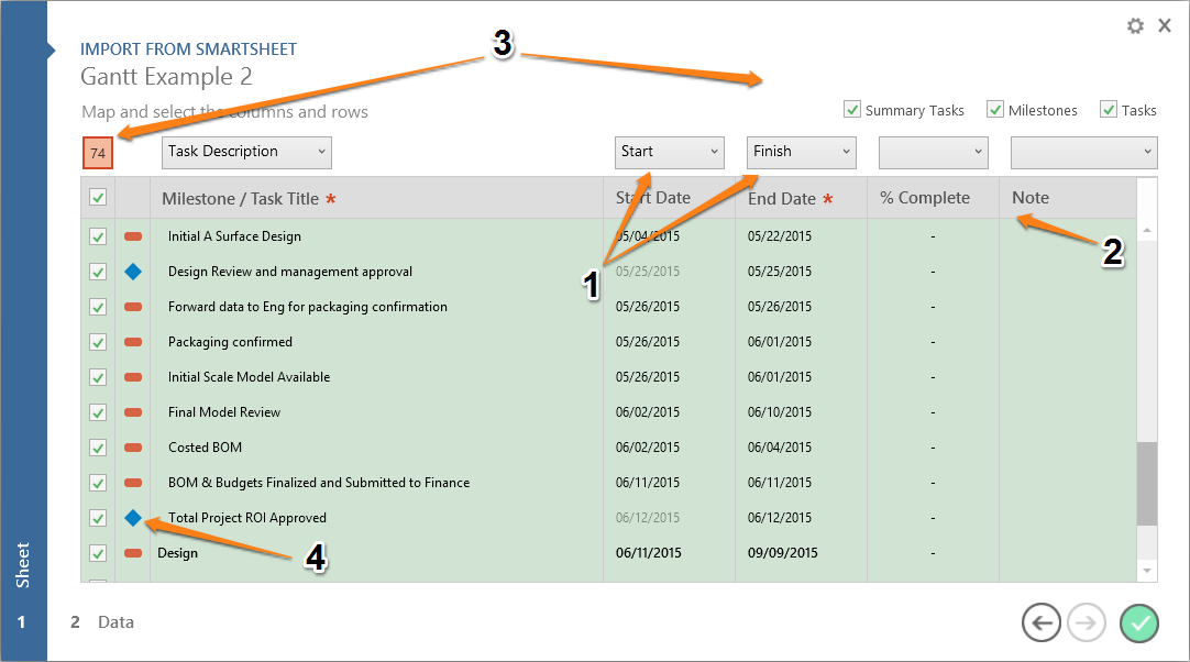 Import project schedules from Smartsheet into PowerPoint